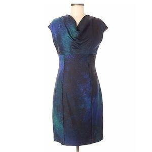 Elie Tahari Galaxy Cowl Neck Wool Sheath Dress